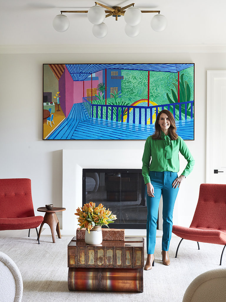Fairfax Dorn Courtesy Elle Decor US March 2020 Art: David Hockney - Stool Jens Harald Quistgaard, Chairs Milo Baugham, Copper Side Table Kwangho Lee